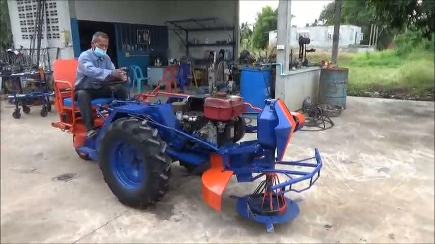 พิษณุโลก201160ทึ่ง..ลุงวัย 67 ปีจบแค่ป.4 ประดิษฐ์รถตัดหญ้านั่งขับแบบสบาย ๆ 